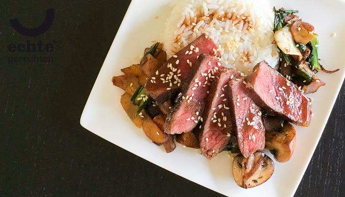 Japanse biefstuk teriyaki